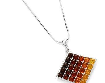 Baltic amber necklace on rhodium 925 sterling silver, amber necklace, baltic amber, bernstein, amber from the Baltic, amber gift