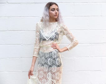 80s Vintage Delicate Floral Lace See-thru Sheer Ruffle Gown Maxi Dress