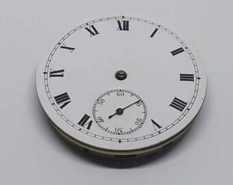 Mechanical Pocket Watch Movement & Enamel Dial 42.9 mm