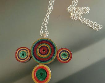 Colorful paper and silver chain necklace