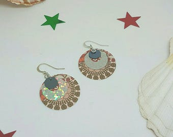 Paper and multicolor sequin earrings