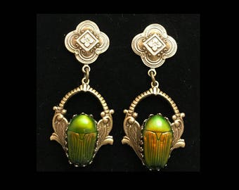 Real iridescent green scarab beetle antiqued brass earrings- sterling posts- 2 inches long