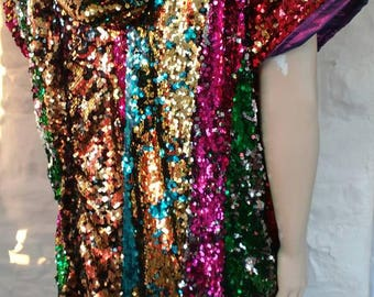 Sequin cape with velvet hood and pockets