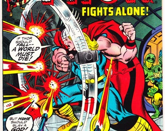Thor 218, Asgard comic book. Norse Thunder Gods, Vintage Bronze Age, Buscema art. 1973 Marvel Comics in VF (8.0)