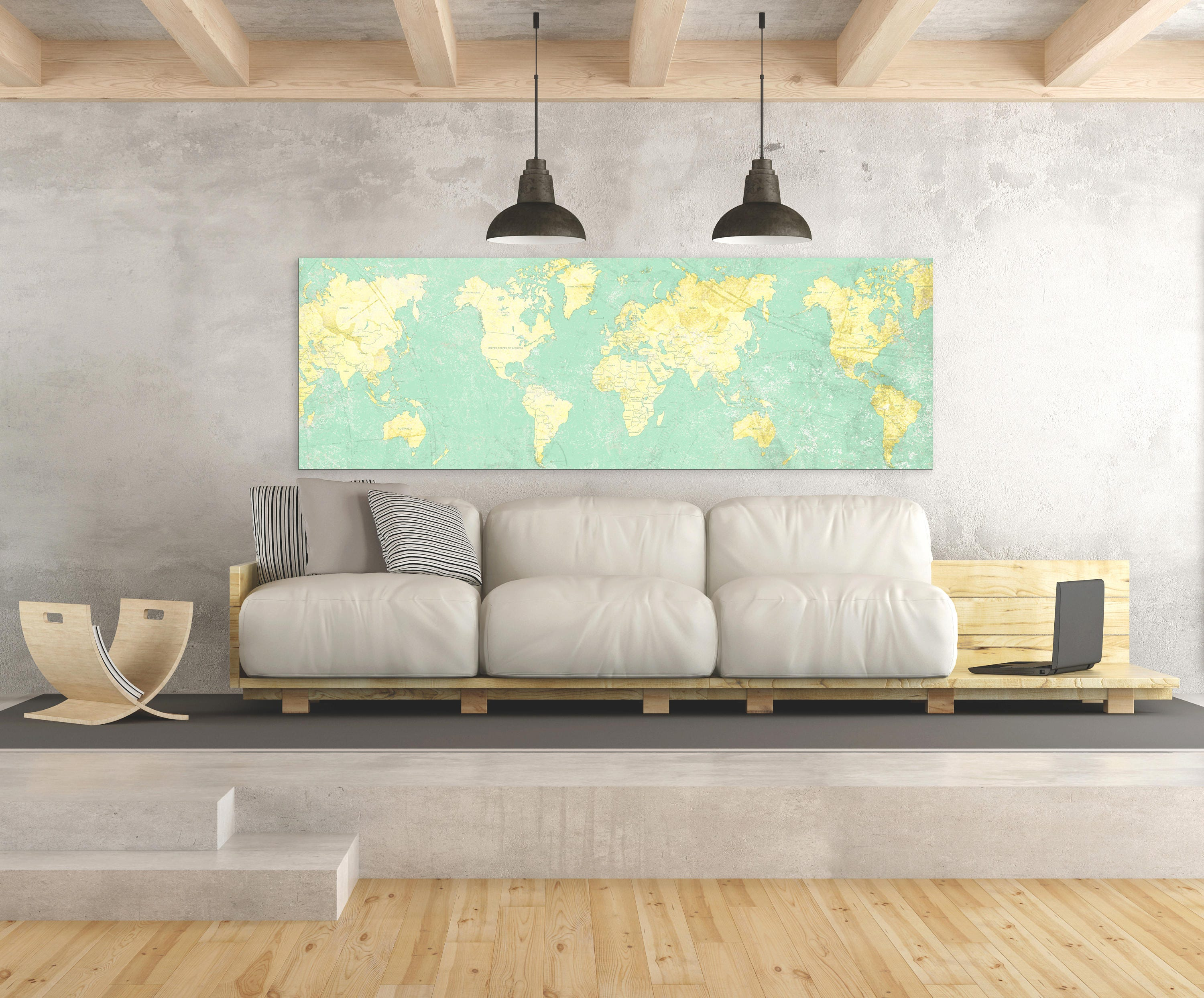 Old World Map Art. WORLD MAP Canvas Print Vintage Light Wall Art Mint Turquoise Yellow Old  World Map Panoramic Large Oversized wall art poster