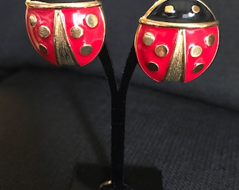 Avon Retro Huge Ladybugs Red And Gold Clip On Earrings 1980's