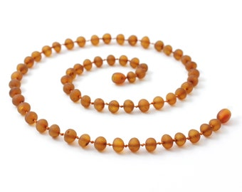 Raw Amber Necklace for Adults, Raw Cognac, Available in 17.7-21.7 inches (45-55 cm) Length, Made from Unpolished Baroque Baltic Amber Beads
