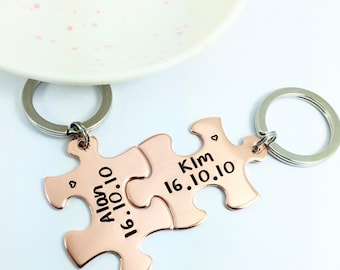 Personalised Jigsaw KeyRing Set Copper Puzzle Piece | Traditional 7 Year Anniversary Gift | Friendship Gift | Couple/Best Friend/Sisters