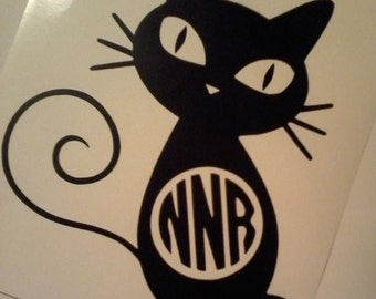 Kitty Cat Monogram Vinyl Decal Sticker Free delivery! Initials / car / laptop / tablet / phone / Yeti / Picture / Scrapbook