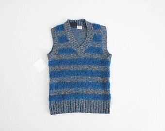 blue striped sweater vest   1970s sweater   boucle knit vest