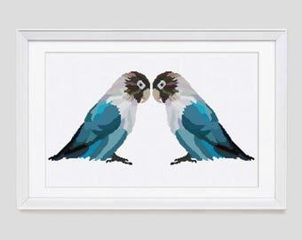 Modern Cross stitch pattern, Lovebird counted cross stitch, Lovebird modern cross stitch pattern