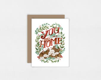 You Are My Home | Greeting Card | Watercolor Art Print | Valentine's Day | 5x7