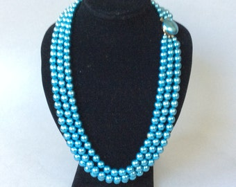 Japan Aqua Glass Pearl Tripple Strand Beaded Necklace Button Clasp