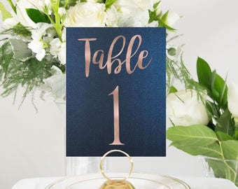 Shimmer Navy and Rose Gold Foil Table Numbers Handmade Wedding #0102NB