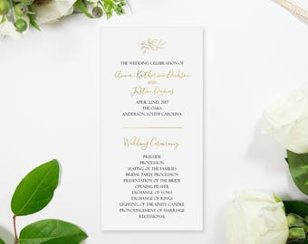 Gold Foil Script Wedding Program Handmade