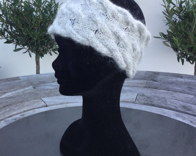 Alpaca pale grey luxury cable headband / ear warmer by Willow Luxury