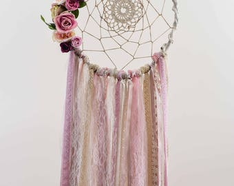 Boho Bedroom,Wedding Decoration,Handmade,Artificial Flowers,Pearls,Boho Wedding,Wedding DreamCatcher,Pink Dream Catcher,Modern Dream Catcher
