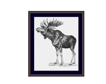 Moose Counted Cross Stitch Pattern / Chart,  Instant Digital Download (AP182)