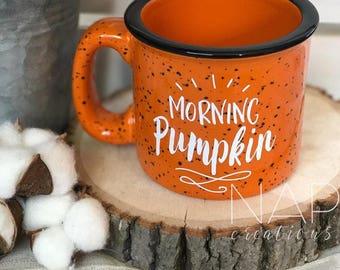 Morning Pumpkin || Orange || Campfire Mug || 15 ounce || Coffee Mug