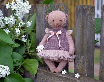 """Artist teddy Bear """"Dusty rose"""", Stuffed Animal Bear, OOAK teddy bear, vintage toy, collection teddy bear, handmade teddy bear"""