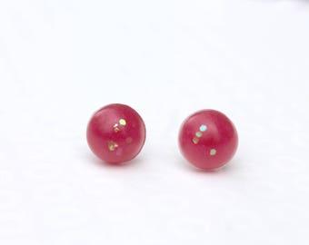 Red Glitter Circle Earrings - Glitter Earrings - Small Studs - Resin Earrings - Stud Earrings - Post Earrings - Cute Earrings