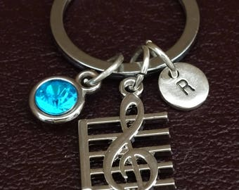 Treble Clef Keychain, Treble Clef Key Chain, Treble Clef Charm, Treble Clef Pendant, Music Note Keychain, Music Teacher Keychain, Musician