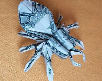 Origami Sculpture SPIDER 3D Art Gift Money Figurine Handmade out of Two Real 1 Dollar Bills