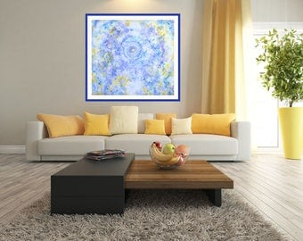 Abstract Blue Yellow Painting Large Wall Art Print Abstract Art Canvas Painting Print Modern Art Print Giclé Painting Print Original Art