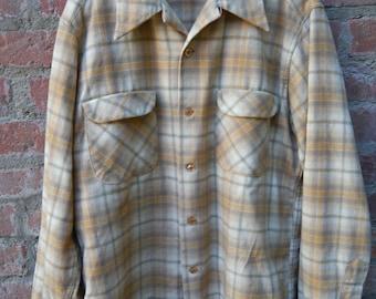 Pendleton Board Shirt 1960's 1970's Size L Large Loop Collar Flap Pockets 100% Virgin Wool Made in USA