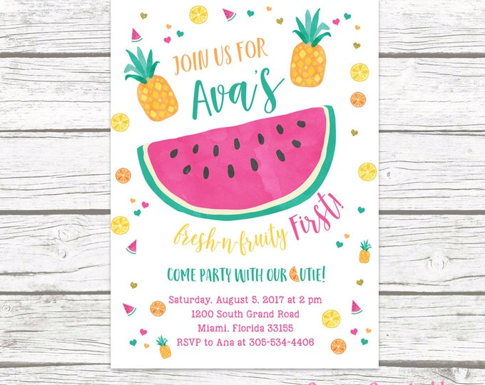 Tutti Frutti Invitation, Tutti Frutti Birthday Invitation, Fruity First Birthday Invitation, Watermelon Invitation, Pineapple Invitation