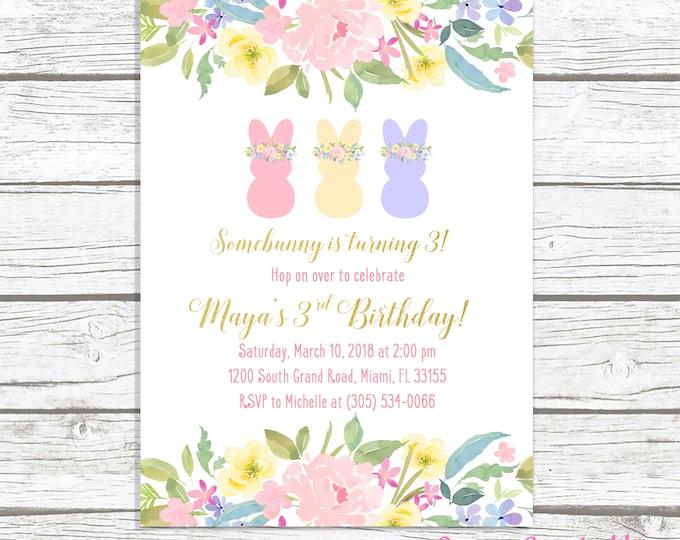 Bunny Birthday Invitation, Bunny Invitation, Pink and Gold Bunny Birthday Invitation, Girl 1st First Birthday Party Invitation Somebunny One