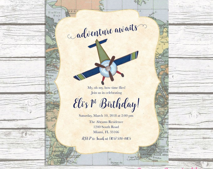 Airplane Birthday Invitation, Adventure Birthday Invitation, Time Flies Birthday Party Invite, Airplane Invitation, First 1st Birthday Boy