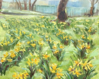 Impressionist landscape painting, original oil on canvas, Daffodils in Park, early spring, 16x20in