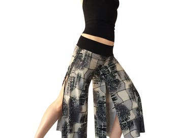 Gray Cheetah Collage; Cropped Tango Pant; Double Slit Tango Pant; Milonga Pant