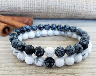 Snowflake Obsidian, White Howlite, Couples Bracelet, Black And White, Black White Bracelet, Yin Yang Bracelet, Yin And Yang, Mens Bracelet