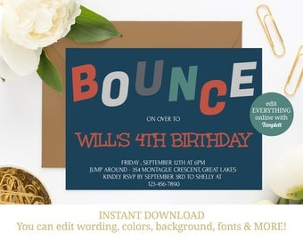 Trampoline Party Invitation, Trampoline Invite, Jump Invitation, Trampoline Birthday, Printable, Bounce Invitation, INSTANT DOWNLOAD