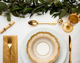Gold Baroque Party Bowls | Gold Paper Bowl Disposable Soup Bowl Gold Bowl Gold Tableware Masquerade Ball 50th Anniversary Gold Wedding PPG