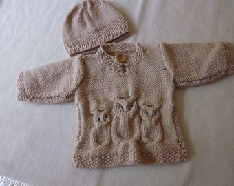 Hand knitted baby's owl sweater and matching hat, 0-3 months