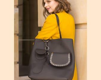 Black leather tote bag | Tote bag | Tote leather bag | large leather tote bag | women leather tote bag | modern laptop bag  | BLACK