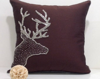 Reindeer Christmas Pillow,Reindeer Pillow Holiday Pillows Deer Pillow Cover Brown Decorative Pillows for Couch Cushions Cyber Monday Sale