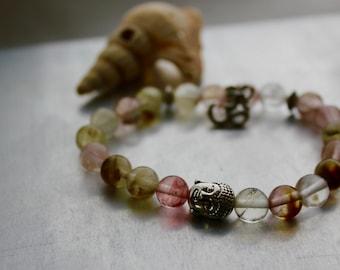 """Gemstone bracelet, Watermelon, tourmaline, 6"""" buddha bracelet"""