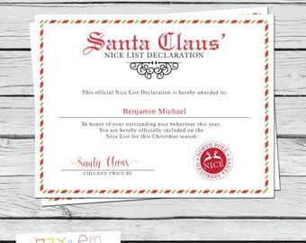 Printable kids gift santas nice list certificate santa santas nice list certificate santa printable printable santa certificate editable santa claus certificate yelopaper Images