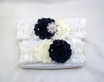 Navy Wedding Garter Set, Bridal Lace Garter Set, Navy Ivory  Shabby Flower, Ivory Stretch Lace, Crystal Rhinestone Keepsake BtnChc Lc-C