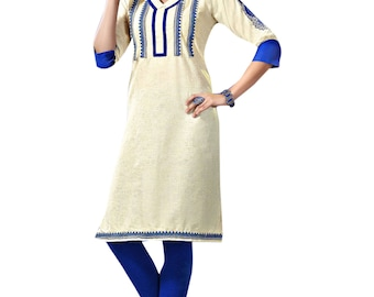 Indian Off White Khadi Pure Cotton Kurti Kurta for Ethnic Women Tunic Dress