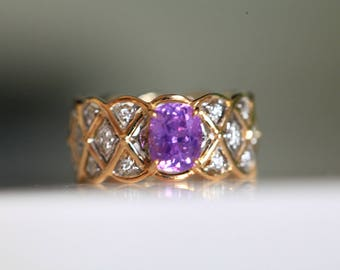 1.12ct Unheated Purple Sapphire Ring 18k Solid two tone gold exquisite design beautifully made