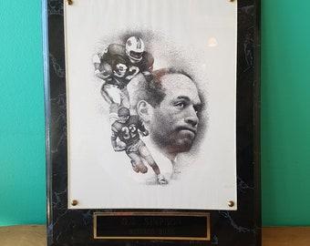 OJ Simpson - Buffalo Bills - Bill Dotson Plaqued Print