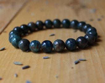 Blue Apatite Bracelet Stone Bracelet Apatite Crystal Jewelry Gemstone Throat Chakra Yoga Bracelet Healing Stone Meditation Jewelry