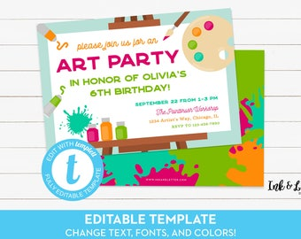 Art Party Invitation - Art Birthday Party Invitation - Painting Party Invite - Editable Birthday Invitation - Templett - Printable Invite