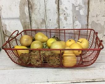 Vintage Red Wire Basket, Fruit Basket, Vegetable Basket, Garden Basket, Retro Red Wire Basket