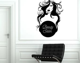 Beauty Salon Vinyl Wall Decal Woman Hair Stylist Signboard Decor Stickers Mural (#2638di)